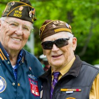 Veterans of World War II at a Memorial Day service.