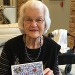 One of our residents sharing the beautiful card that she made.