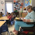 The students were equally interested in Barbara Young's scooter and her stories!