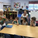 Yetta Wolf has the students chanting their ABC's as they jump into the book, Chicka Chicka Boom Boom!