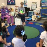 Sylvia Bergman and Dartha Hargrove connect with the students as they read the comical story of Knuffle Bunny.